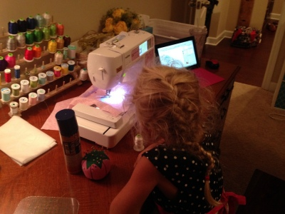S was fascinated with Miss Kara's embroidery machine. I told S maybe one day Miss Kara could teach her to sew. Goodness knows I missed out on that gene!