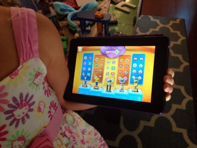 On Tuesday while I worked S played a Team Umizumi math game on the tablet. She unlocked all the levels and got all the prizes and so SO! EXCITED! that she did it twice.