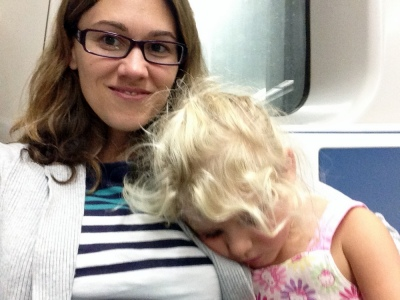 She fell asleep on me with less than five minutes to go on our metro ride. Of course!